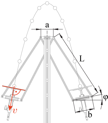 Technical drawing of the four bar linkage of the Swinging Blind Juggler